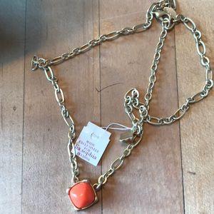 Lia sophia necklace with orange stone